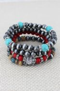 SILVER NAVAJO PEARL AND CORAL BEAD BRACELET SET